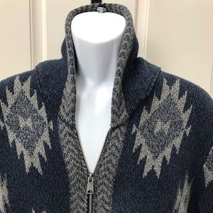 NEW wTag-LUCKY Brand Blue Lodge Zip Up Cardigan XL